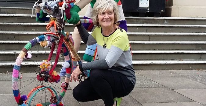Eric the yarn-bombed bike has arrived at the Municipal Offices